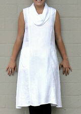 MOSAIC USA  610 Flax Linen  COWL NECK FAVORITE FROCK  Dress  S M L XL  WHITE
