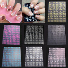 108pcs 3D Flower Design Nail Art Manicure Tips Stickers Decals DIY Decoration A6