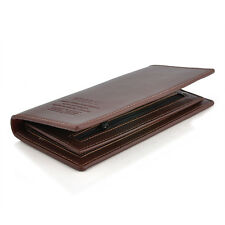 Mens Leather Casual Black Long Wallet Pockets Card Clutch Cente Bifold Purse New