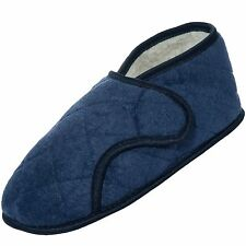Mens Navy Edema Velcro Bootie Slipper for Swollen Feet-Opens Fully M, L, XL