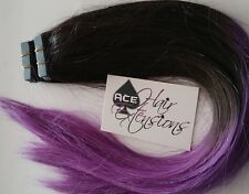 Tape Hair Extensions Ombre Black To Purple Human Hair Dip dyed