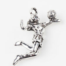 5/10Pcs New Tibet Silver Charms 3D Volleyball Girl Play Volleyball Pendants DIY