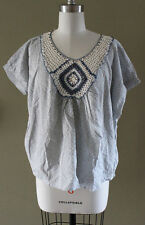 BLUE Polka Dot TRIBAL Baggy Loose Casual Crochet Cotton Blouse Top Shirt S/M/L