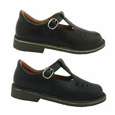 Ladies School Shoes Wilde Black Leather Wide Fit Lace Up or Tbar Size AUS 5-12