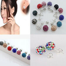 New Austrian Crystal Pave Disco Clay Ball Bead Steel Shamballa Stud Earrings