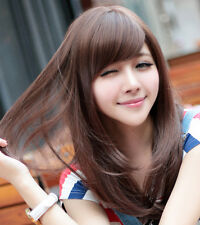 Lady Fashion Mid- Long Brown Straight Women Hair Full Wigs Wig Cosplay Party Wig