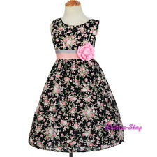 Floral Pattern Flower Girl Cotton Spring Summer Holiday Dress Size 3T-6 SD010