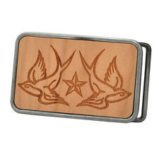 Buckle Rage Adult Unisex Tattoo Swallows Star Etched Wood Rounded Belt Buckle