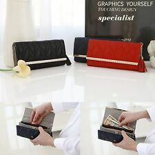 Genuine Quilted Leather Jewelry Trifold Tassel Long Wallet Purse Clutch Bag Gift