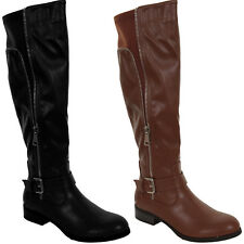Womens Faux Leather Zipper Buckle Detail Elastic Low Heel Knee High Boots