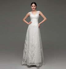 Womens Lace Wedding Dress Mesh Back Formal Evening Dress Bridesmaid Dress Gowns