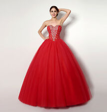 Fashion Women Red Crystal Party Dress Prom Dress Lace Up Back Formal Ball Gowns