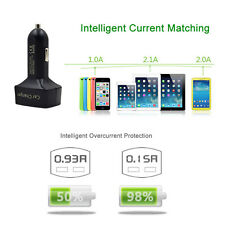 4 In 1 Dual USB Car Charger Adapter Voltage DC 5V 3.1A Tester For iPad iPhone #K