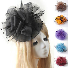 women wedding party handmade hat lace fascinator hair clip accessory feather
