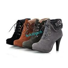 Women's Ankle Boots High Heels Platform Winter Fur Trim Lace up Boots Shoes Size