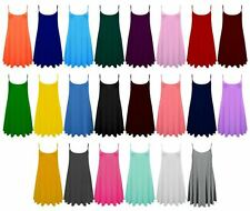 Ladies Long Camisole Cami Plain Strappy Swing Dress Fit Vest Top Flared UK CmiLn