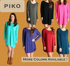 PIKO D2194 Authentic Bamboo Long Sleeve Boat Neck Tunic Dress - S M L
