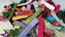 SINGLE PRONG Alligator Clips Partially Lined Solid Grosgrain Ribbon