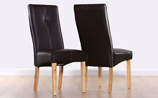 2 4 6 8 Logan Brown Leather Dining Room Chairs Oak Leg