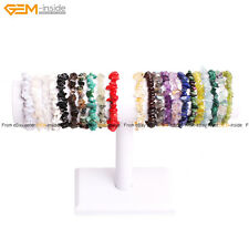 "Natural Assorted Freeform Chip Gemstone Gravel Beads Bracelet 7 1/2"" Jewelry"