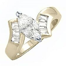 14K GOLD EP 2.26CT DIAMOND SIMULATED MARQUISE RING size 5-11 you choose