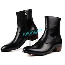 Fashion Cowboy Boots GENUNIE LEATHER Work Ankle Boots Mens Zipper Boots Shoes Sz
