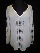NWT Azi Sheer Ivory Embroiodered Blouse Ladies Small & XL Retail $92