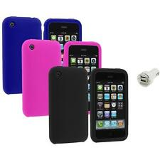 Color Silicone Rubber Gel Skin Case Cover+Dual Charger for Apple iPhone 3G 3GS