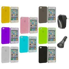 0.3mm Color Super Ultra Thin Hard Frost Case Skin+2X Chargers for iPhone 4 4G 4S