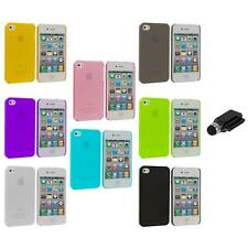 0.3mm Color Super Ultra Thin Hard Frost Case Skin+Dock Stylus for iPhone 4 4G 4S