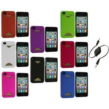 Credit Card ID Snap-On Rubberized Hard Case Cover+Aux Cable for iPhone 4S 4G 4
