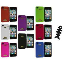 Credit Card ID Snap-On Rubberized Hard Case Cover+Cable Wrap for iPhone 4S 4G 4