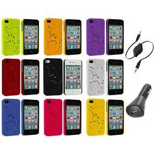 3D Rose Flower Color Hard Rubberized Cover Case+Aux+Charger for iPhone 4 4S 4G