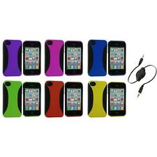 Color Hybrid Dual Flex Hard TPU Case Skin Cover+Aux Cable for iPhone 4 4S 4G