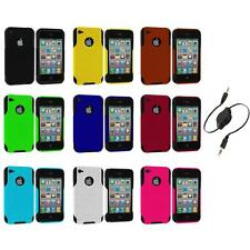 Color Black Hybrid Mesh Hard/Soft Gel Case Cover+Aux Cable for iPhone 4 4S 4G