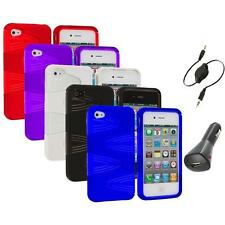 Color 2-Piece Swirl Hybrid Hard TPU Case Cover+Aux+Charger for iPhone 4S 4G 4