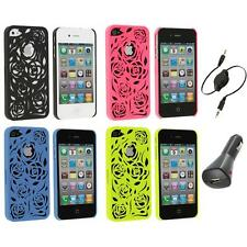 Color Lovely Carving Rose Flower Rear Hard Case+Aux+Charger for iPhone 4 4G 4S