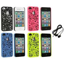 Color Lovely Carving Rose Flower Rear Hard Case+Headphones for iPhone 4 4G 4S