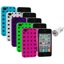 Color Basket Weave Hard Snap-On Rubberized Case+USB Charger for iPhone 4 4S 4G