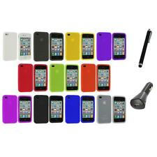 Color Silicone Rubber Gel Skin Case Cover Accessory+Charger+Pen for iPhone 4S 4G