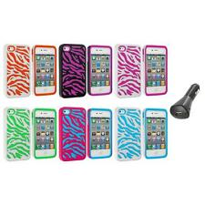 Color Hybrid Zebra Hard/Soft 2-Piece Case Cover+Car Charger for iPhone 4 4G 4S