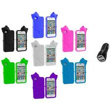 Cat Kitty Color Silicone Skin Case+2.1A Charger for iPhone 4 4S 4G Accessory