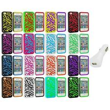 Color Hybrid Zebra Hard/Soft 2-Piece Case Cover+White Charger for iPhone 4 4G 4S