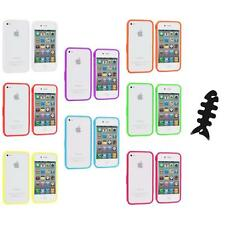 Bumper TPU Solid Jelly Color Rubber Skin Case+Cable Wrap for iPhone 4 4S 4G