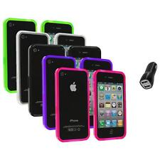 TPU Bumper Rubber Transparent Jelly Case Cover+2.1A Charger for iPhone 4 4S 4G