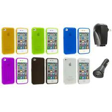 TPU Diamond Pattern Color Case Cover+2X Chargers for iPhone 4S 4G 4 Accessory