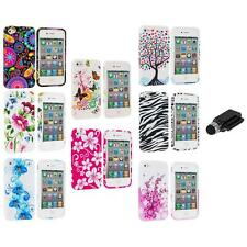 Color Design TPU Rubber Skin Case Cover+Dock Stylus for iPhone 4 4S 4G Accessory
