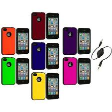Color TPU Bumper Hybrid Hard Rubberized Case+Aux Cable for iPhone 4 4S 4G