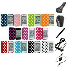 Polka Dot TPU Color Rubber Skin Case Cover+Accessories for Apple iPhone 4 4S 4G