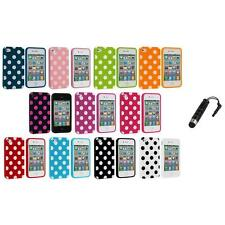 Polka Dot TPU Color Rubber Skin Case Cover+Stylus Plug for Apple iPhone 4 4S 4G